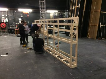 double sided flats being assembled on stage