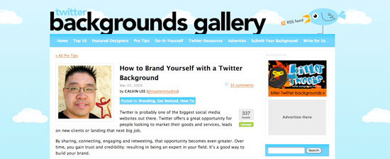 Twitter background branding