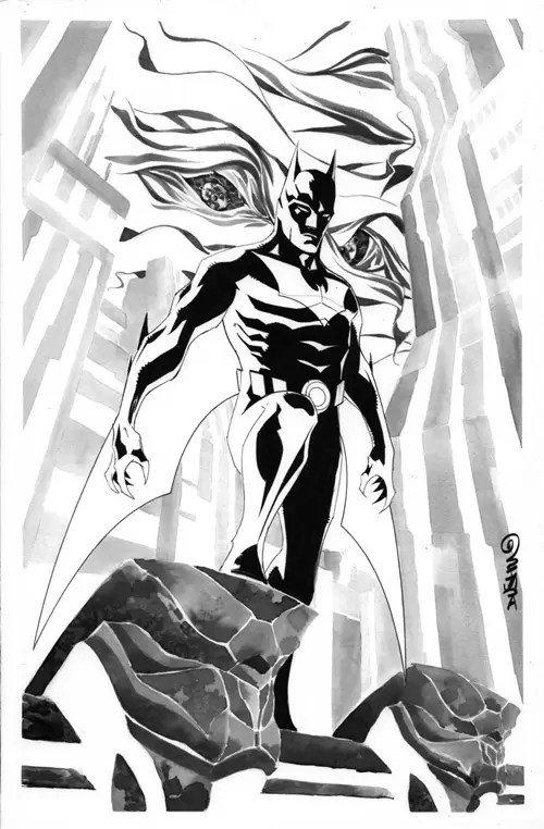 Batman Beyond cover 1 B+W by duss005