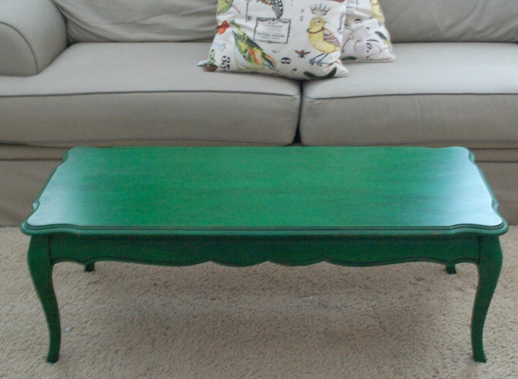 Coffee Table In Emerald Milk Paint Topped With Pitch Black