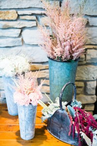 ceremony decor in pink and white by chicagoland floral designer