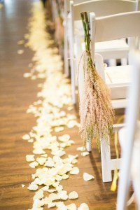 pink and white pretty ceremony aisle wedding decor