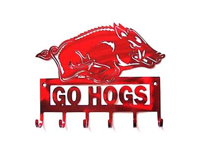 arkansas razorback go hogs wall hooks, wooo pig sooie sign, razorback sign