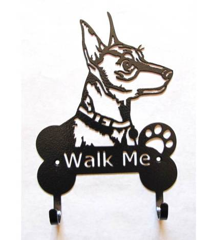 miniature doberman pincher metal leash hooks leash holder