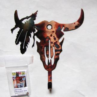 steer skull wall hook