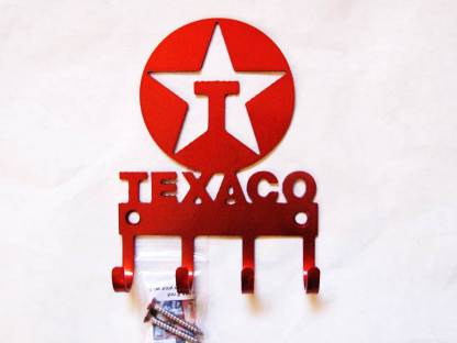 texaco logo metal wall hooks, key holder