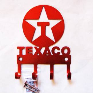 texaco logo metal wall hooks, key holder