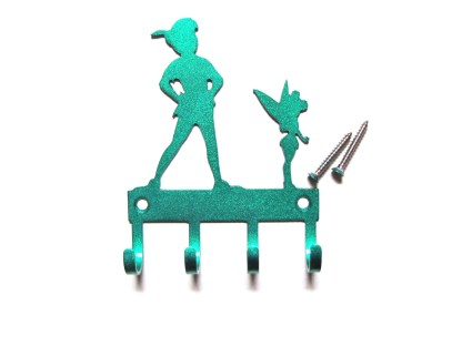 peter pan and tinker bell metal wall hooks