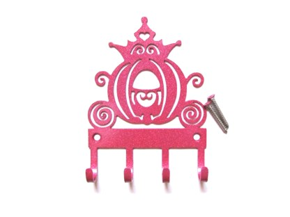cinderella's carriage wall hooks pink