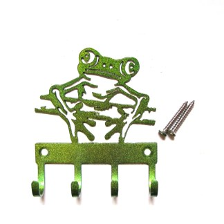 metal frog on a stick wall hooks, key holder