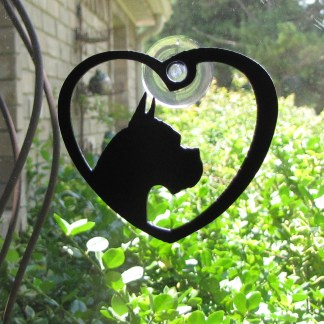 metal window art my dog boxer heart my boxer window art
