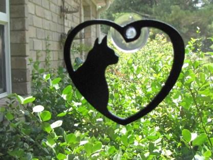 metal window art cat heart my cat