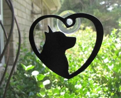 metal window art heart my corgi