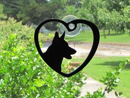 window art heart german shepherd