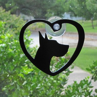 metal window art great dane heart my great dane
