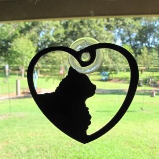 metal window art long hair cat heart my cat