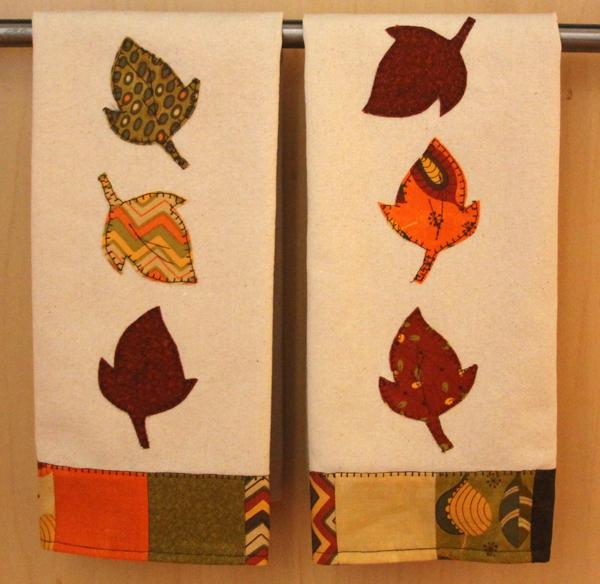 "Tea towels with Moda ""Hello Fall"" mini-charms and fabric. Moda Toweling."