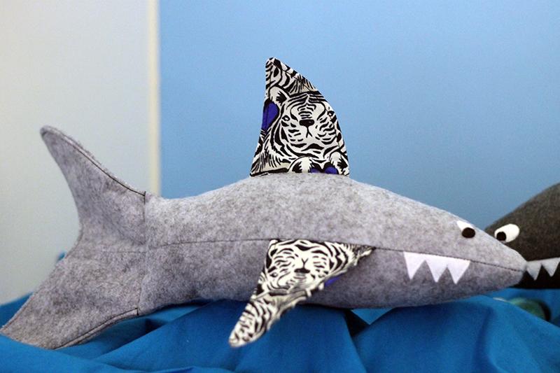 tiger shark with bluebird fabric