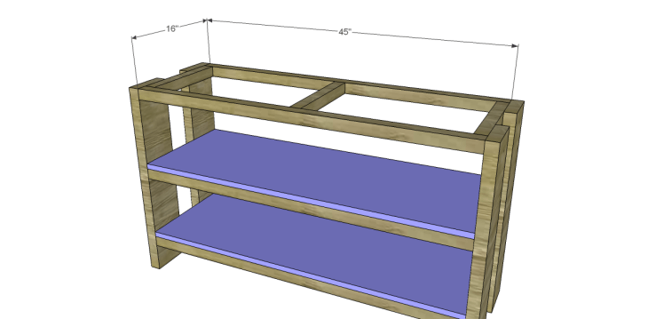 free plans to build a Hammary inspired Luberon console table_Shelves
