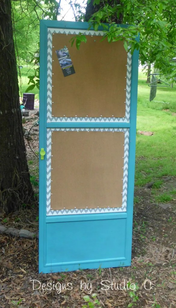 How to Make a Cork Board out of an Old Screen Door SANY2147