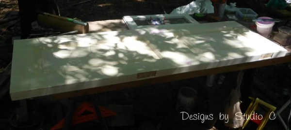 how to build a bench using an old door SANY2227
