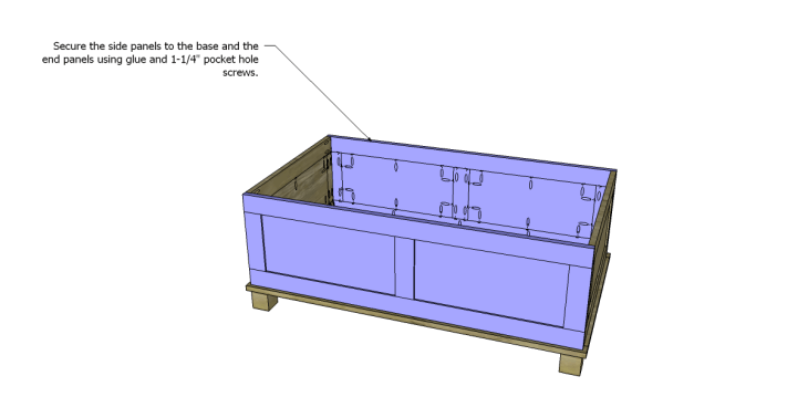 free DIY woodworking plans to build a paneled trunk_Sides 2