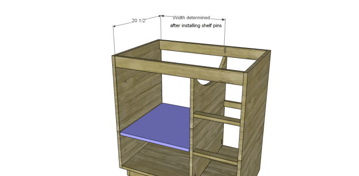 free DIY woodworking plans to build a custom bath vanity_Shelf