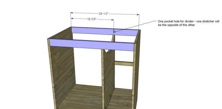 free DIY woodworking plans to build a custom bath vanity_Upper Stretchers