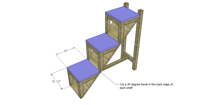 free DIY woodworking plans to build a ladder end table_Shelves