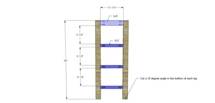 a-frame bookshelf plans_Sides