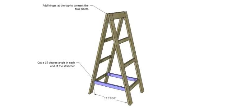 a-frame bookshelf plans_Stretcher