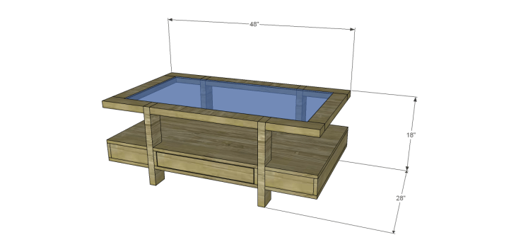 coffee table plans glass top drawers