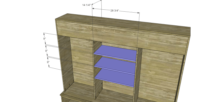plans build large stately bookcase_Center Shelves