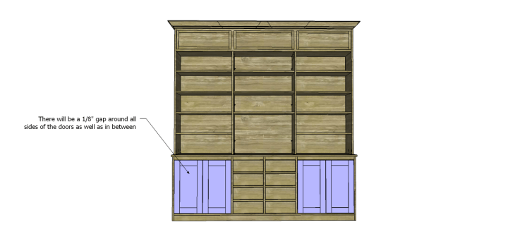 plans build large stately bookcase_Doors 2