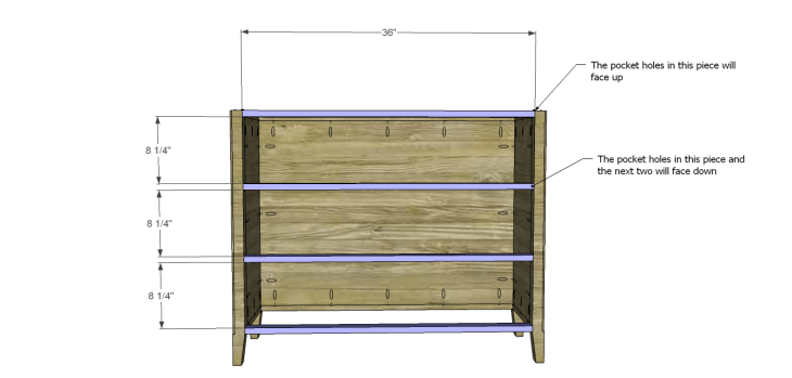 diy three-drawer dresser plans_Front Stretchers