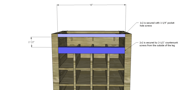 rustic wine cabinet plans-Upper Stretchers
