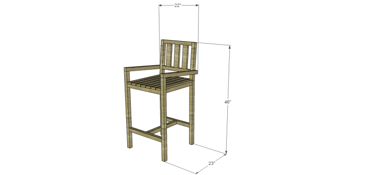 Plans to Build a Barstool with Arms