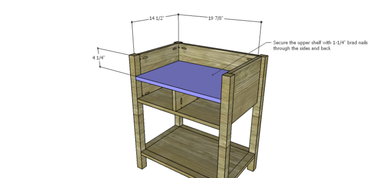 Presley 5-Drawer Table Plans-Upper Shelf