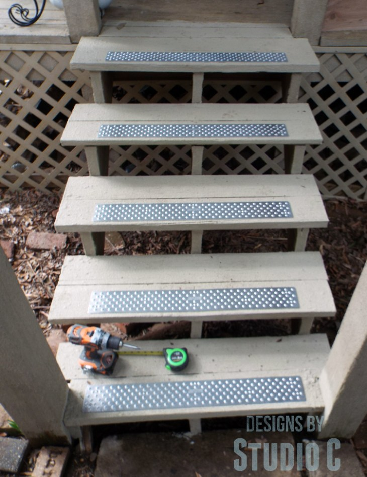 Installing Handi-Treads on Exterior Stairs front view