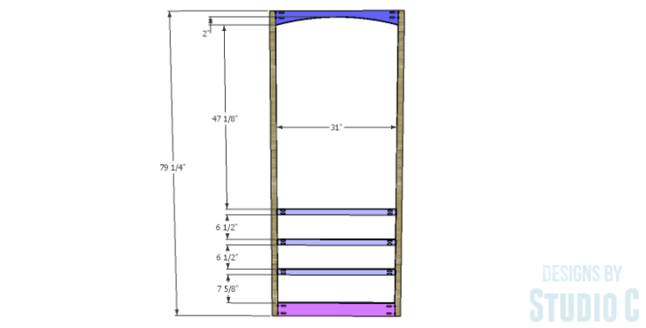 DIY Plans to Build a Bombay Bookcase_Front Frame 1