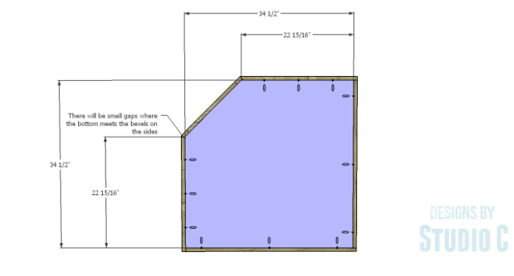 DIY Plans to Build a Diagonal Corner Base Kitchen Cabinet_Shelf 1
