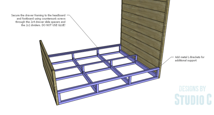 DIY Plans to Build a Rustic Metal Strap Queen Bed_Connecting Drawer Frame