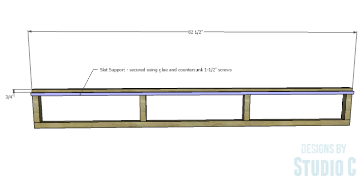 DIY Plans to Build a Rustic Metal Strap Queen Bed_Outer Framing Slat Support