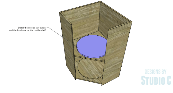 DIY Plans to Build a Tall Diagonal Face Upper Corner Cabinet_Lazy Susan 2