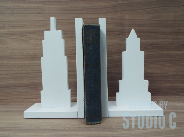 Cityscape Bookends for the Power Tool Challenge_with Book