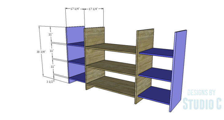 DIY Plans to Build a Hanson Media Console_Outer Shelves & Sides