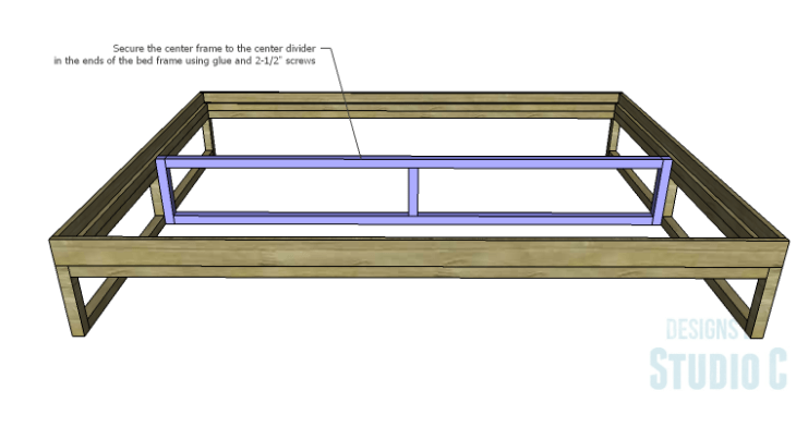DIY Plans to Build a Modern+Rustic Queen Platform Bed_Center Support Frame 2