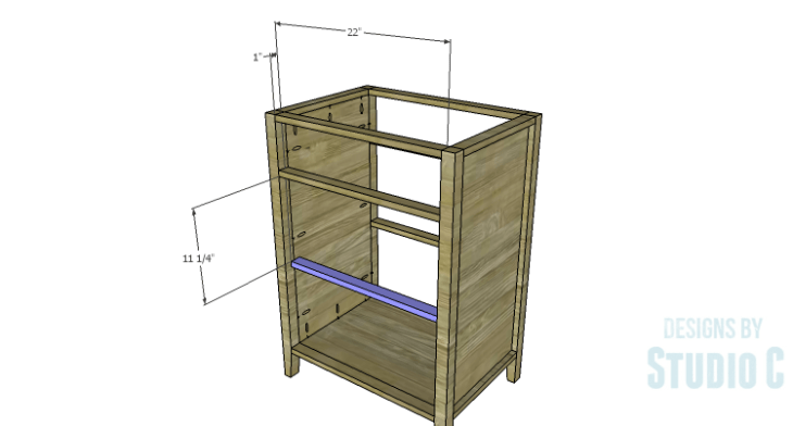 DIY Plans to Build a Tall Cabinet Base-Center Shelf Stretcher