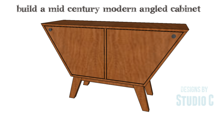 DIY Plans to Build a Mid Century Modern Angled Cabinet-Copy