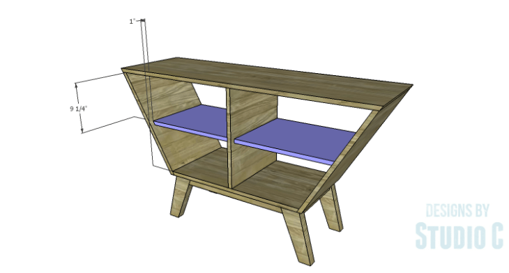 DIY Plans to Build a Mid Century Modern Angled Cabinet-Shelves 2